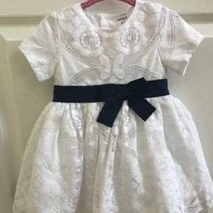 Carter's White Lace Dress with Navy Blue Bow